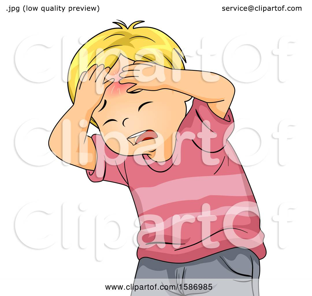 Clipart of a Blond White Boy Holding His Head with a Red Bump.