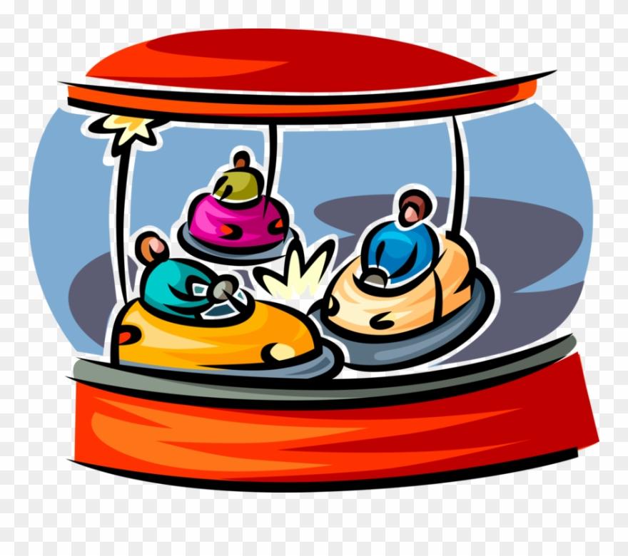 Vector Illustration Of Bumper Car Amusement Ride At.