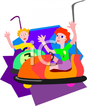 Royalty Free Clip Art Image: Kids Riding the Bumper Cars.