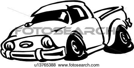 Clip Art of , auto, automobile, bumper, pickup, truck, cartoon.