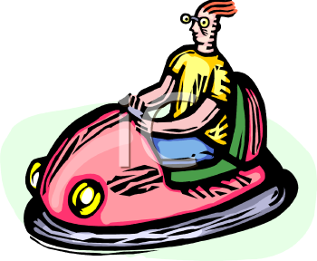 Boy in a Bumper Car at a Carnival.