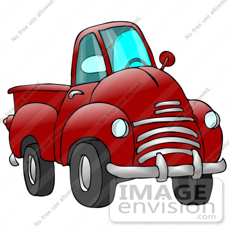 Clip Art Graphic of a Red Pickup Truck With a Chrome Bumper.