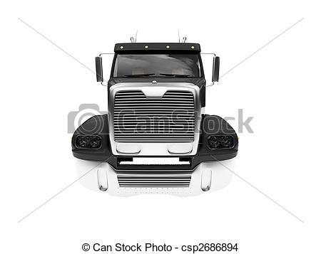 Drawing of Bigtruck isolated black front view.