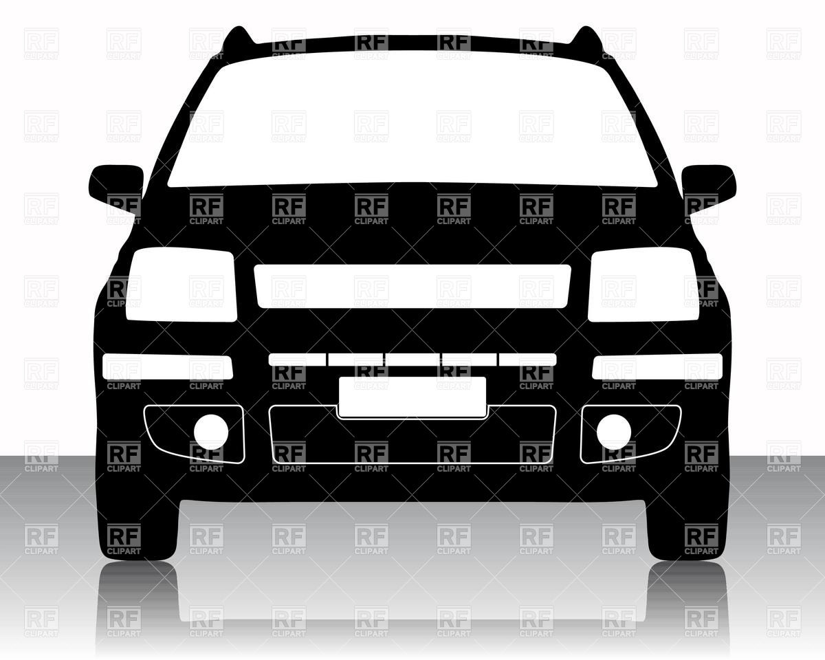 Front view of family car silhouette Vector Image #16430.
