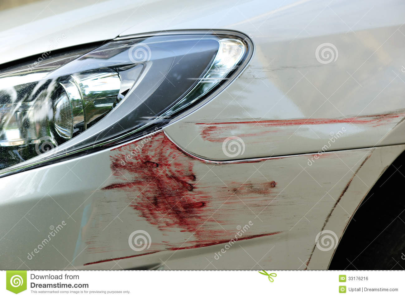 Damaged Front Bumper Stock Photo.