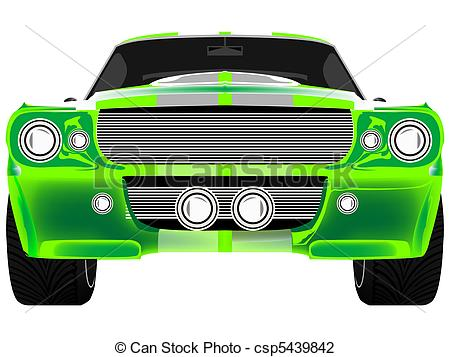 Vector Illustration of green sport car front isolated on white.