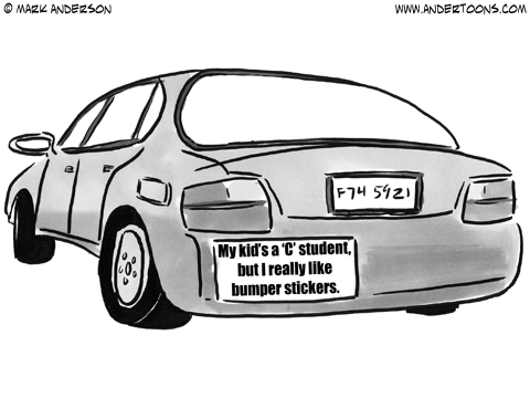 Clipart of car with bumper sticker.