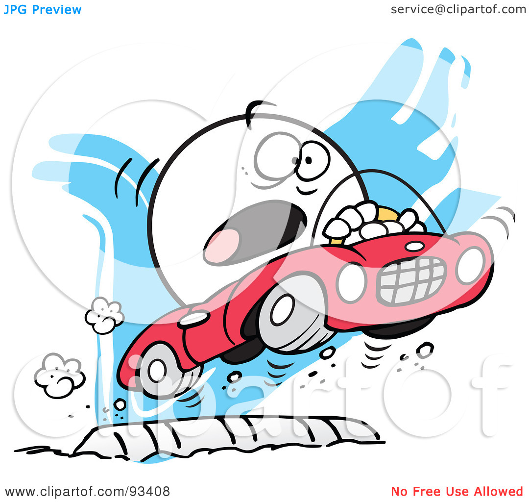 Car driving speed bump clipart.