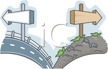 Royalty Free Clipart Image of a Smooth Road and a Bumpy Road #412277.