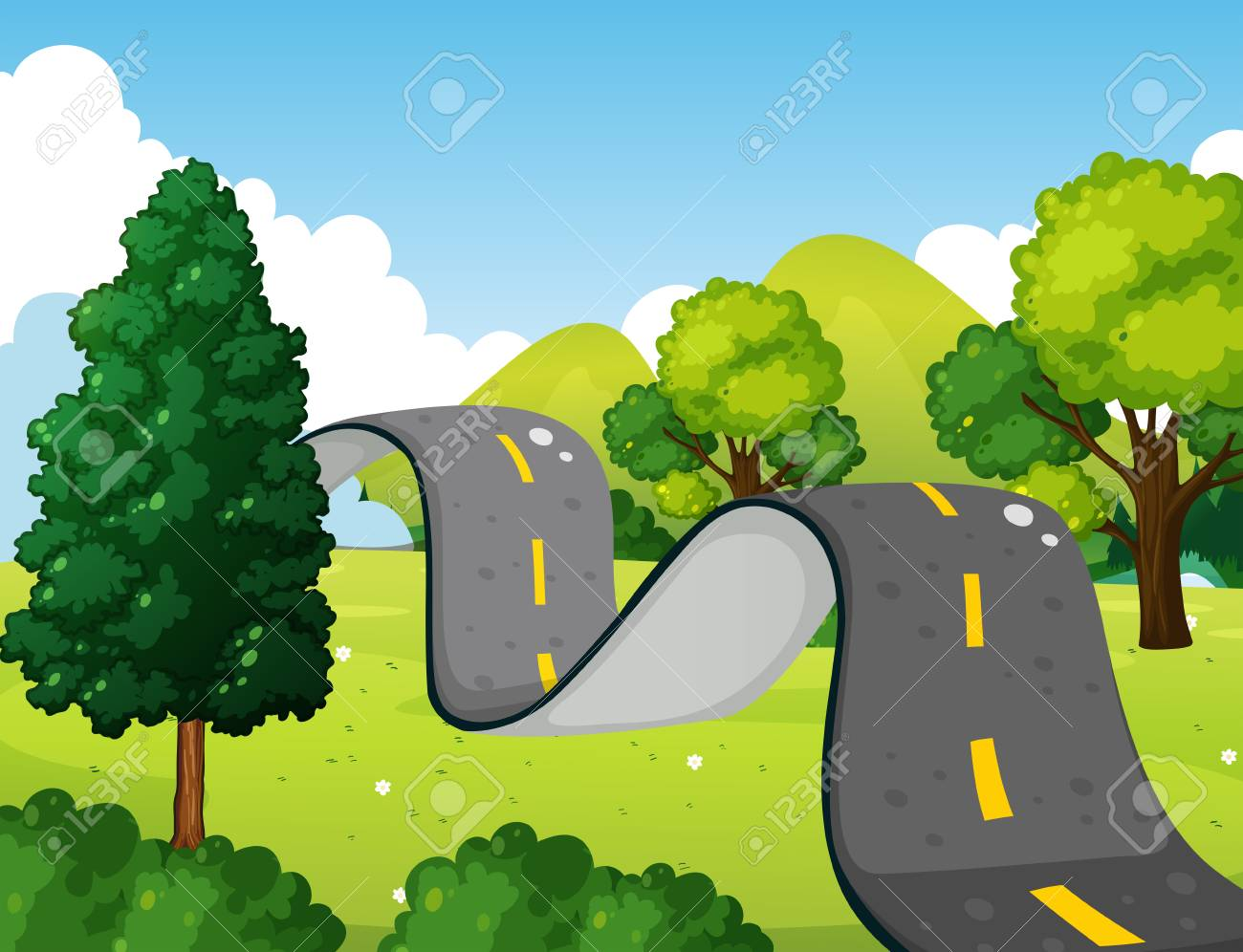 Scene with bumpy road in the park illustration.
