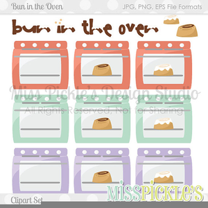 Bun In The Oven Baby Shower Clipart.