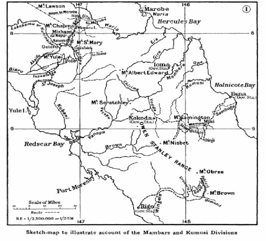 Map illustrating the location of the Rigo, Kokoda, Buna and Ioma.
