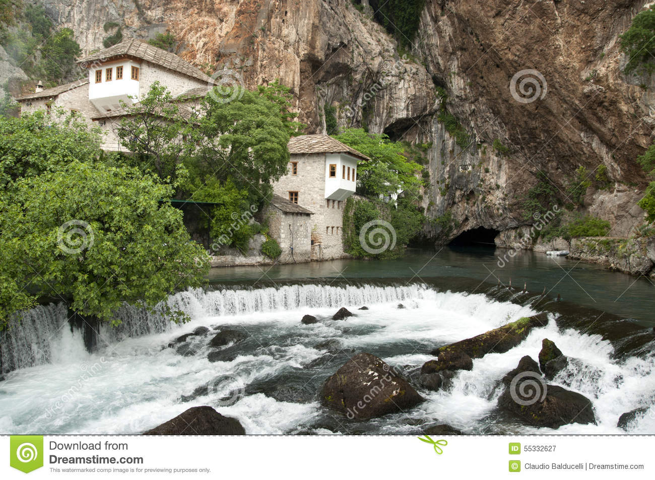 Source Of Buna River Near The Monastery Of Blagaj Stock Photo.