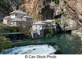 Stock Photo of Dervish house in Blagaj Buna, Bosnia and.