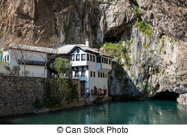 Stock Photo of Dervish house in Blagaj Buna, Bosnia and.