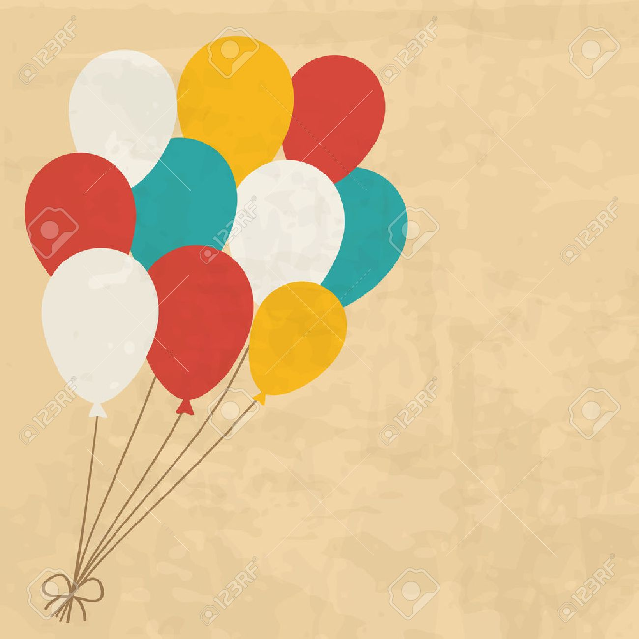 vintage birthday card with a bunch of balloons.