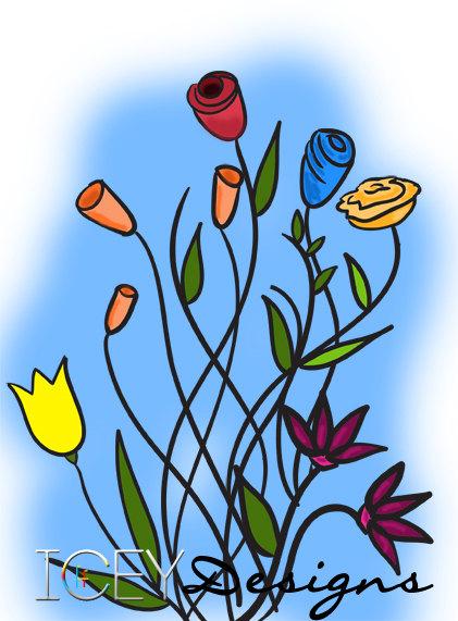 Blue Flower Bouquet Clipart.