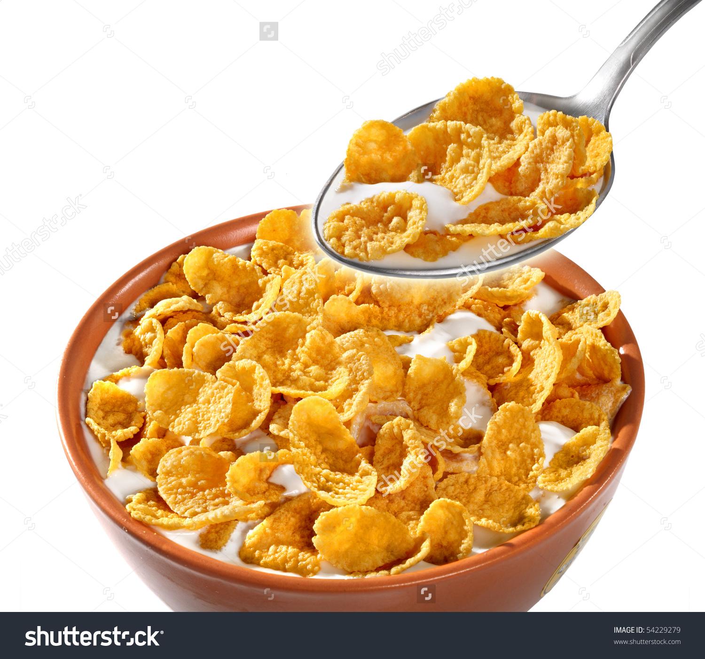 Bowl Spoon Corn Flakes On White Stock Photo 54229279.