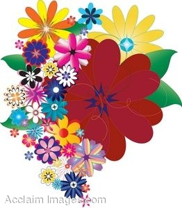 Clip Art of Colorful Bunch of Flowers.
