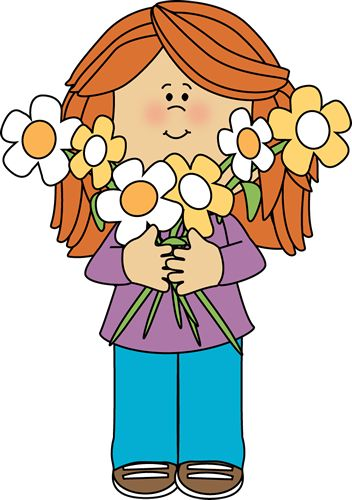 Holding flowers clipart.