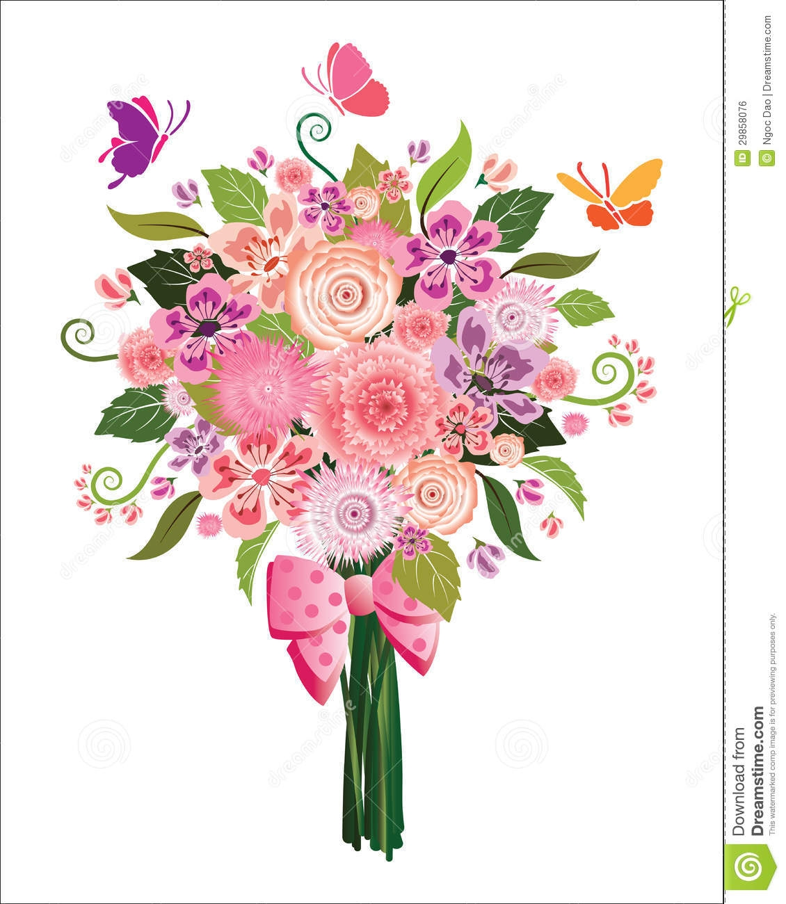 Bouquet of flowers clipart background.
