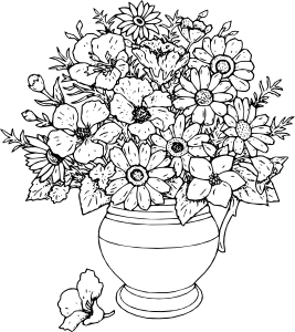 Rose Bouquet Clipart Black And White.