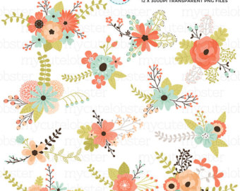 Flower Bunches Clipart Set floral clipart by mycutelobsterdesigns.