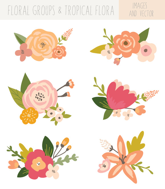 Floral flower bunches clip art tropical and.