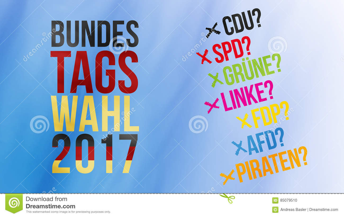 German Words For Federal Election 2017 In Black Red Gold And Ger.