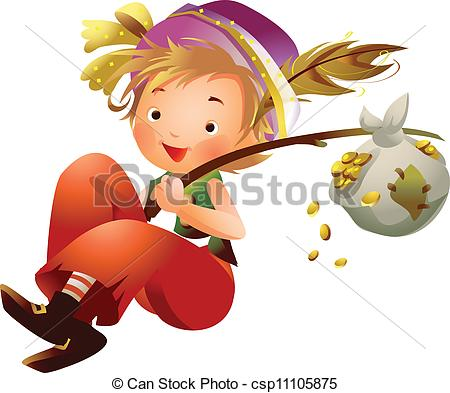Vectors Illustration of Boy carrying bundle of gold coins on stick.