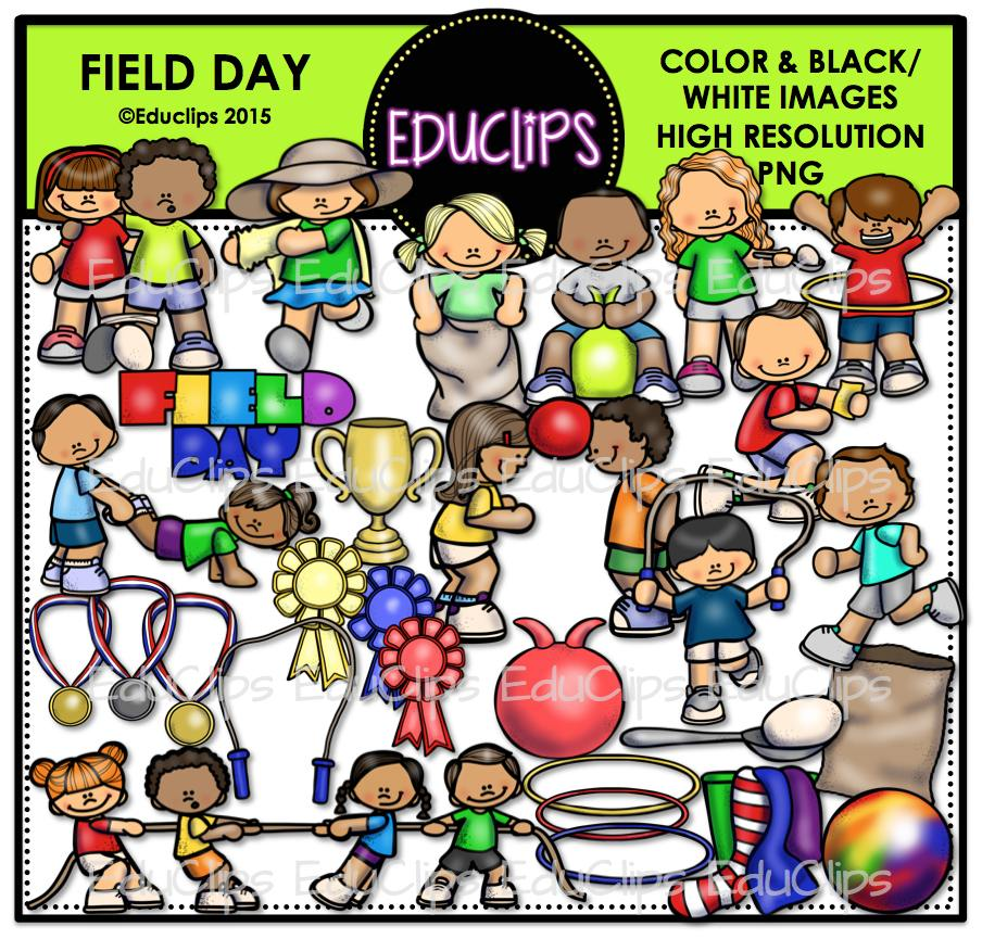 Field Day Clip Art Bundle (Color and B&W).
