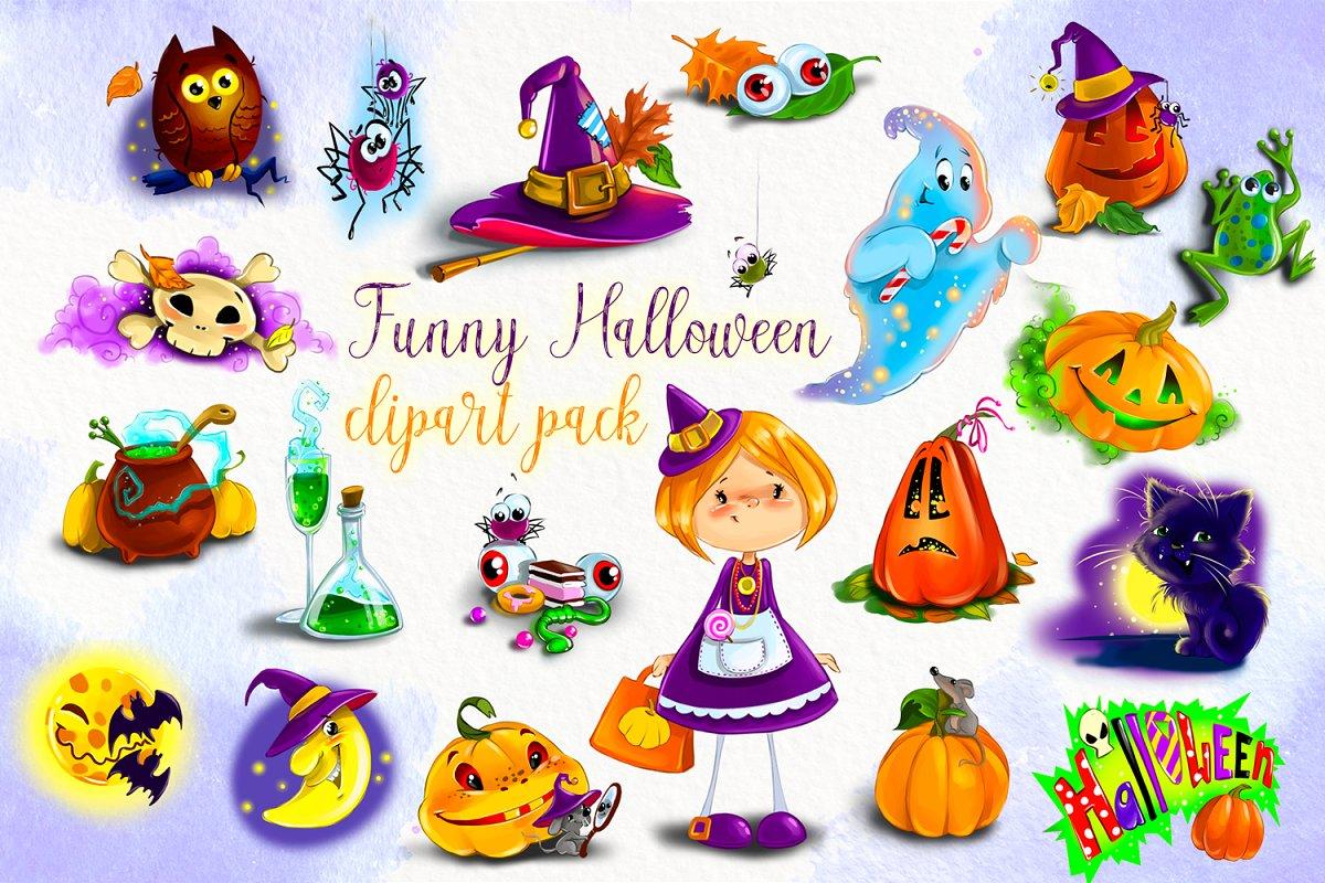Cute Halloween clipart bundle.