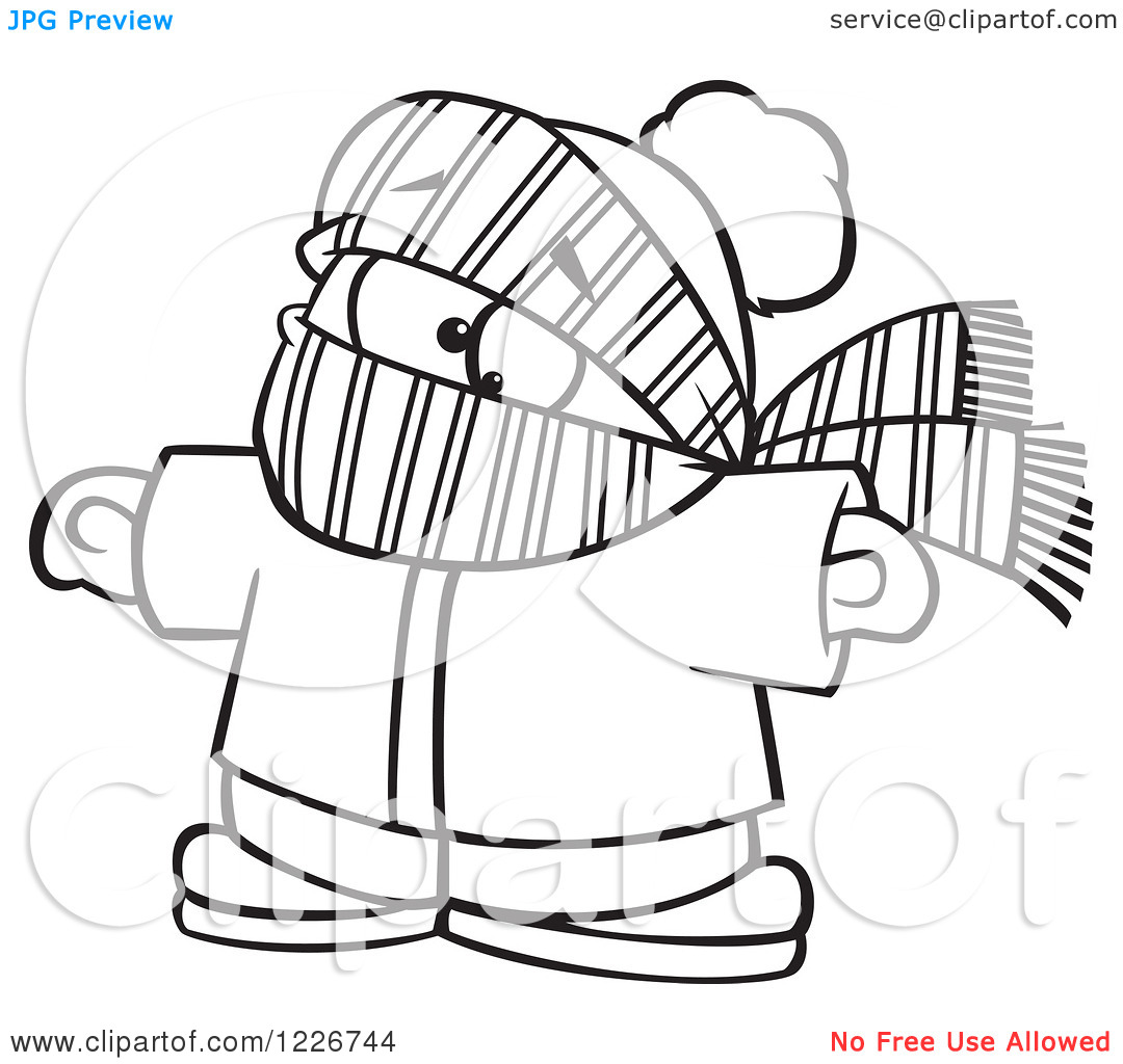 Clipart of a Cartoon Black and White Boy Bundled in Winter Apparel.