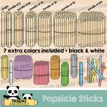 Popsicle Sticks Clip Art: Single and Bundles of 5, 10, 20, 25, 50.