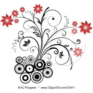 Clipart bunga vintage.
