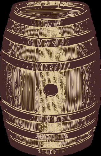Vector image of a wooden barrel.