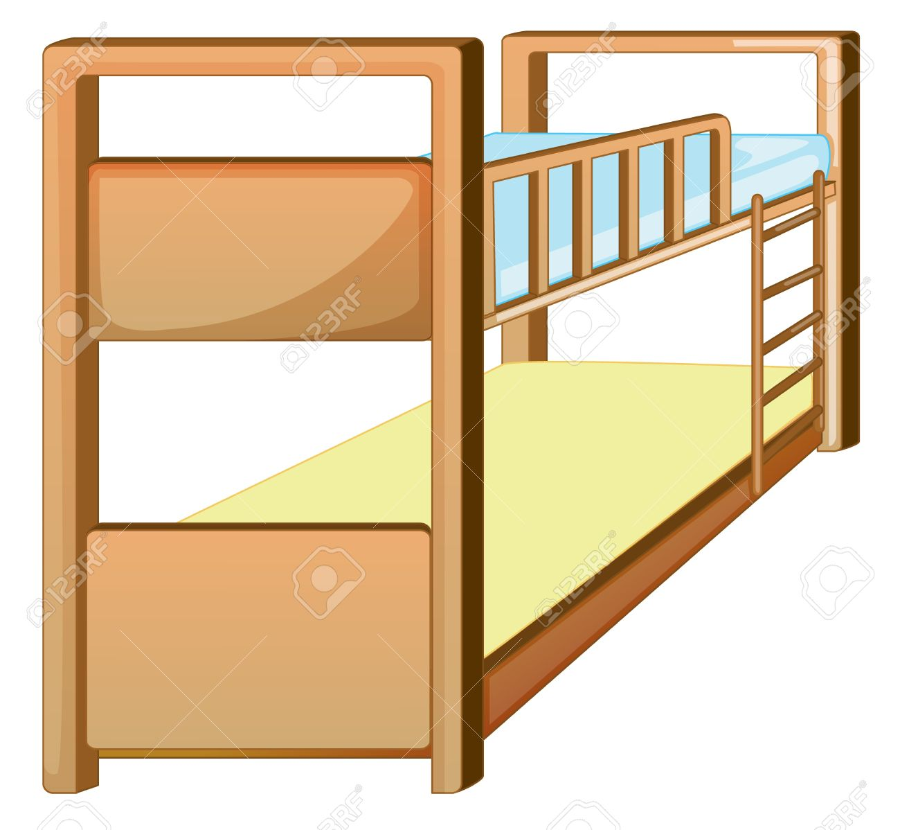 Illustration Of An Isolated Bunk Bed Royalty Free Cliparts.