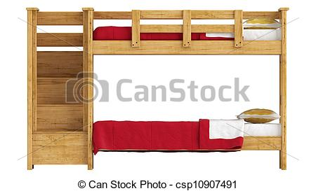 Clipart of Wooden double bunk bed with a lattice framework and.