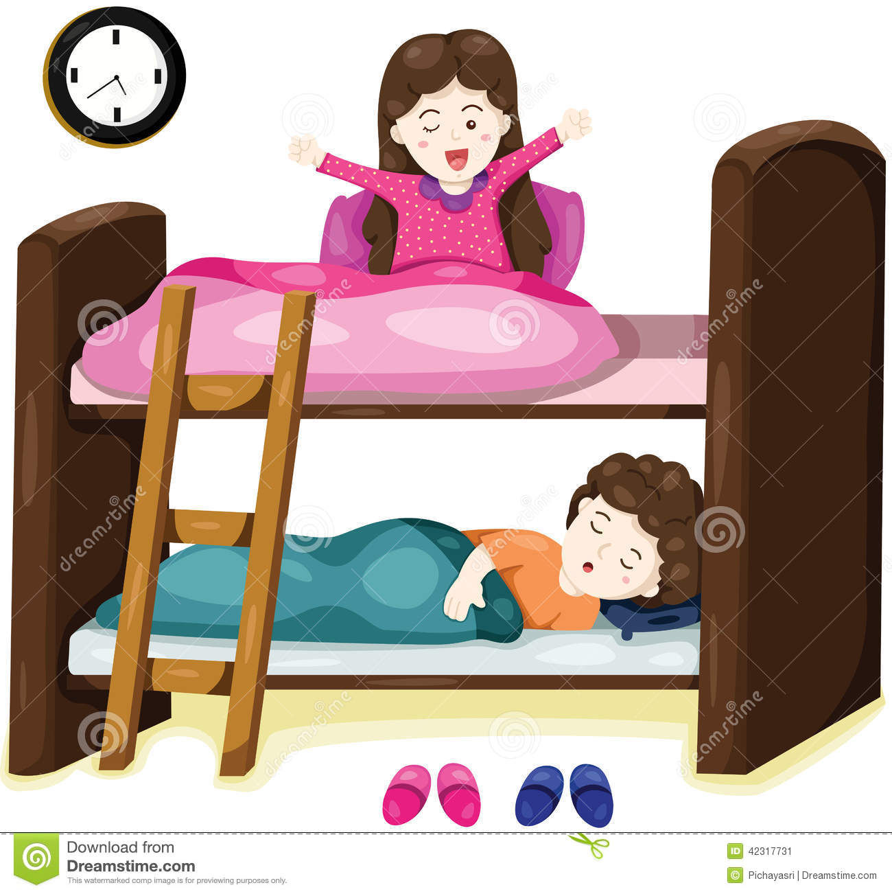 Bunk Bed Stock Illustrations.