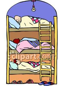 Sleeping In Bunk Beds Royalty Free Clipart Picture.