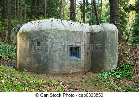 Stock Photography of Old concrete bunker in forest csp6333850.
