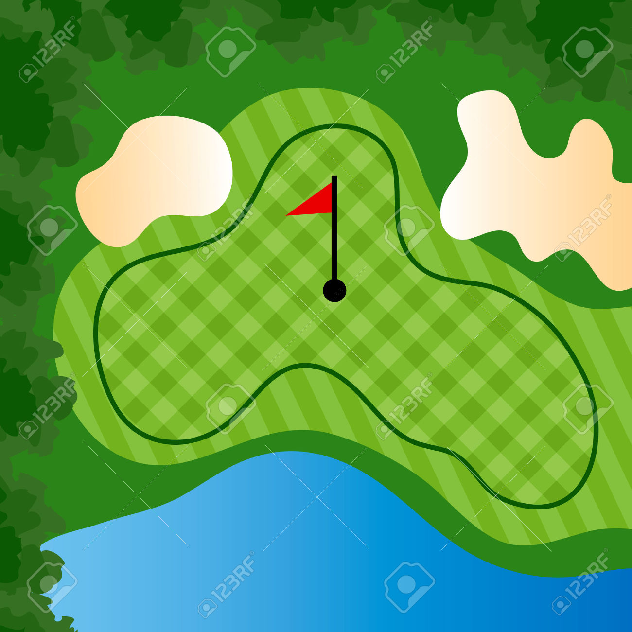 Golf Course Hole With Bunkers And Water Royalty Free Cliparts.
