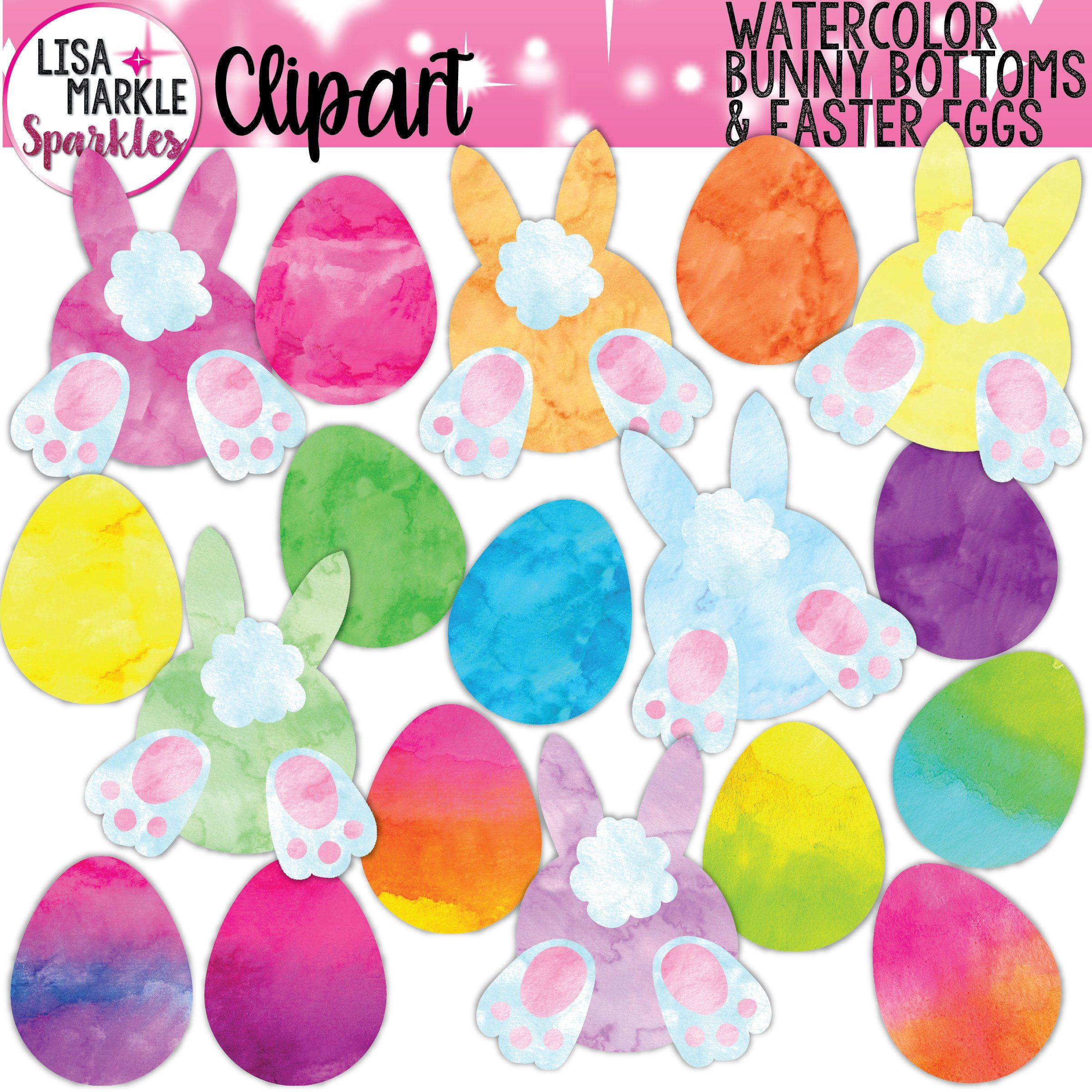 Easter Egg and Bunny Clipart, Bunny Butt Clipart, Watercolor.