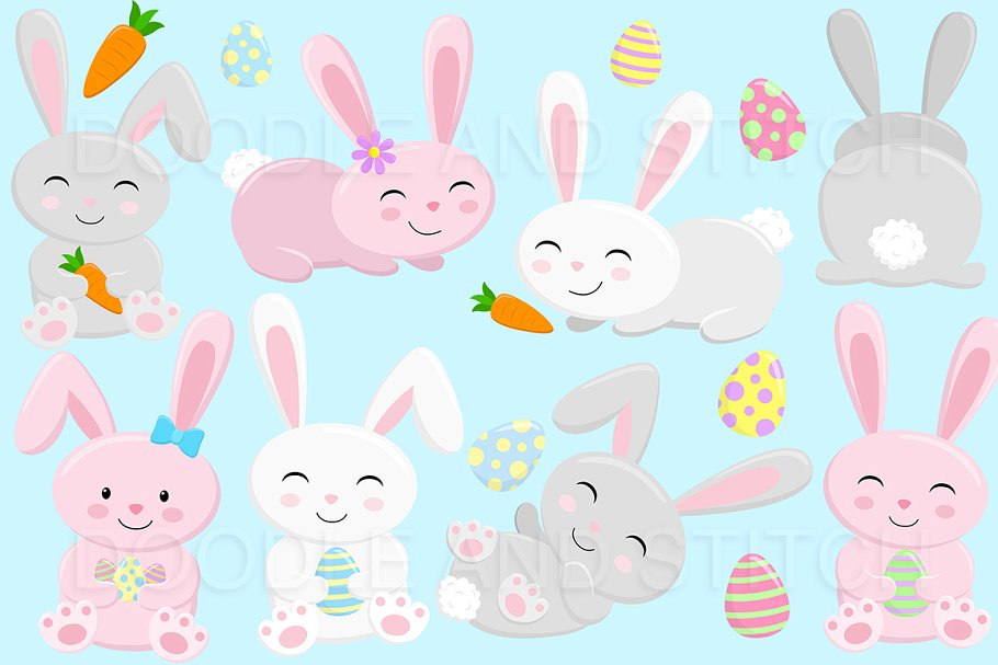 Easter Bunny Clipart Illustrations ~ Illustrations ~ Creative Market.