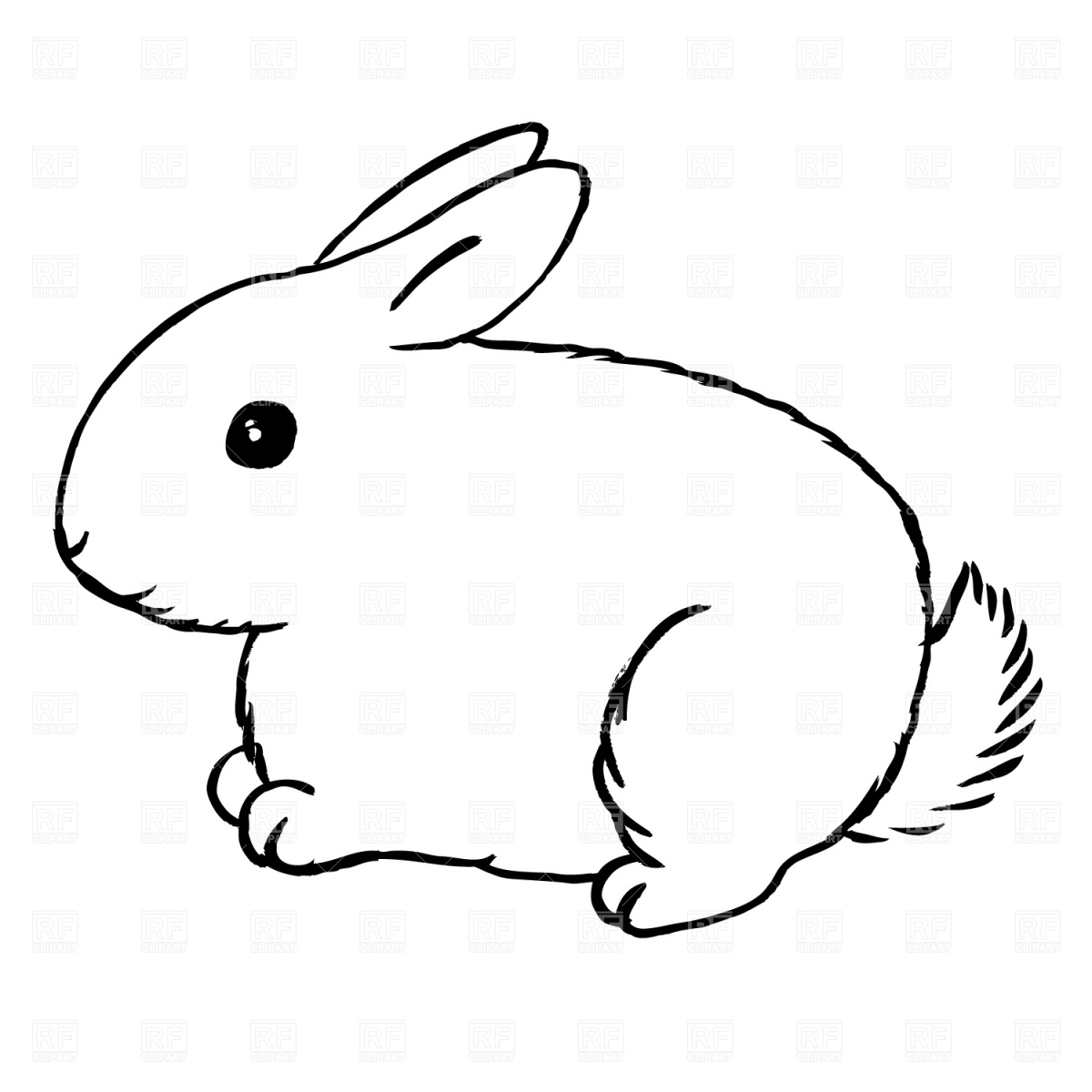 Rabbit clipart black and white Elegant Rabbit bunny clipart.