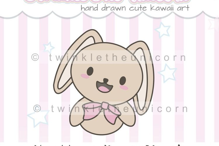 KAWAII BUNNY CLIPART, png graphic, cute clipart.