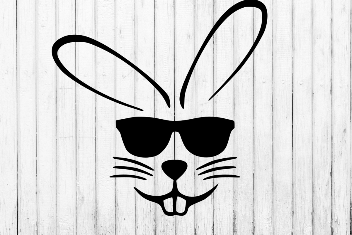 Easter bunny with sunglasses svg, clipart.