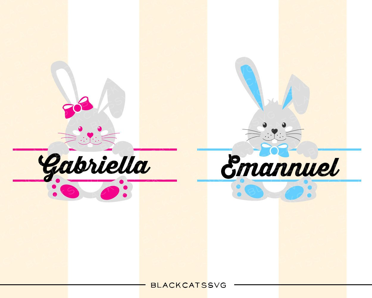 Easter Bunnies SVG boy and girl file Cutting File Clipart in Svg, Eps, Dxf,  Png for Cricut & Silhouette.