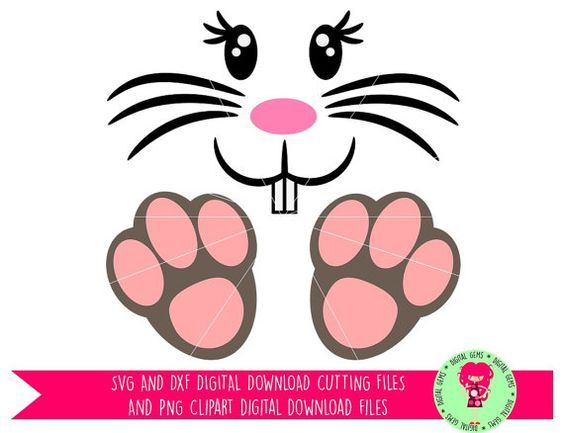 Easter Bunny face and feet svg / dxf / eps / png files.