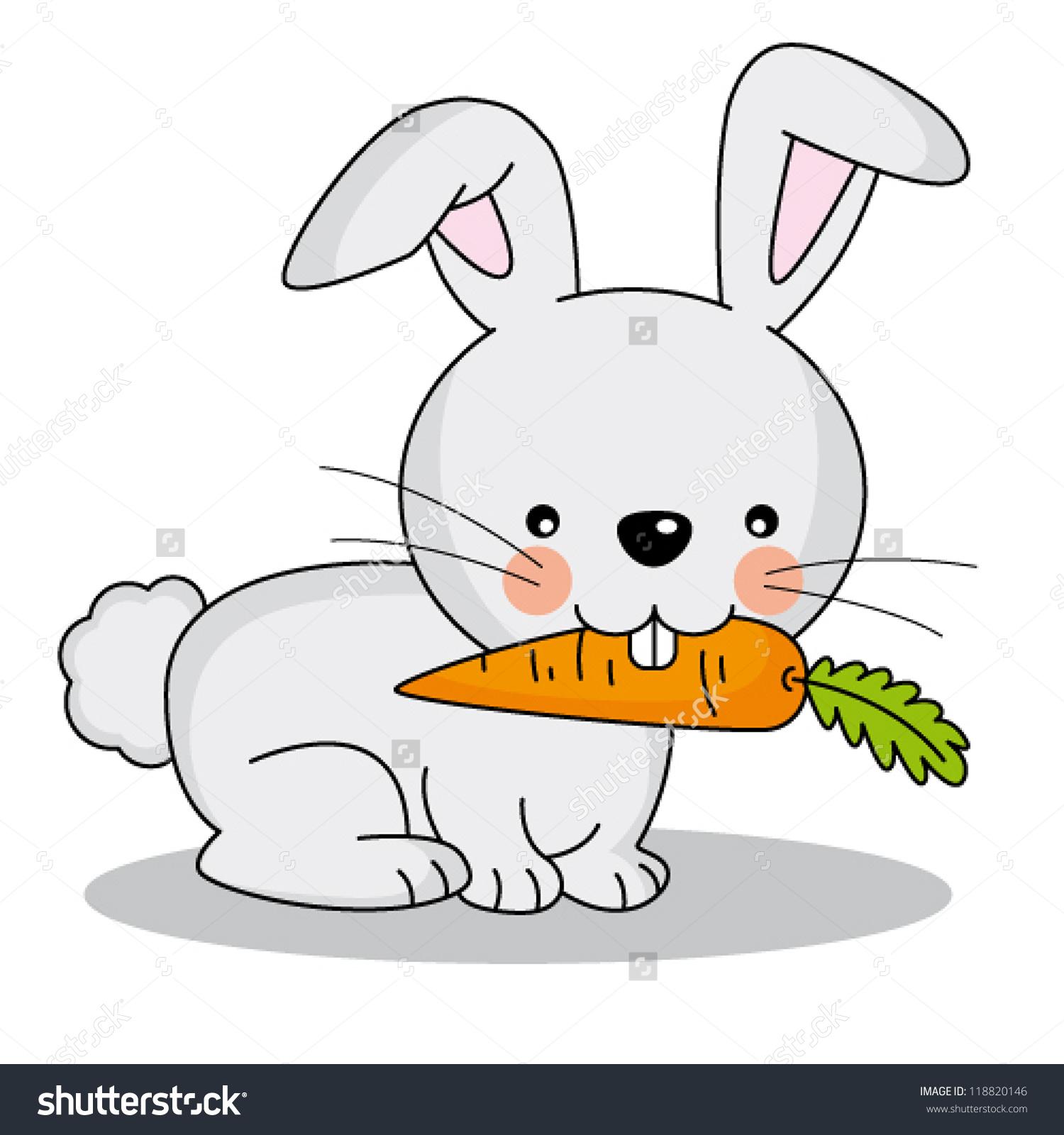 Rabbit Eating Carrot Clipart.